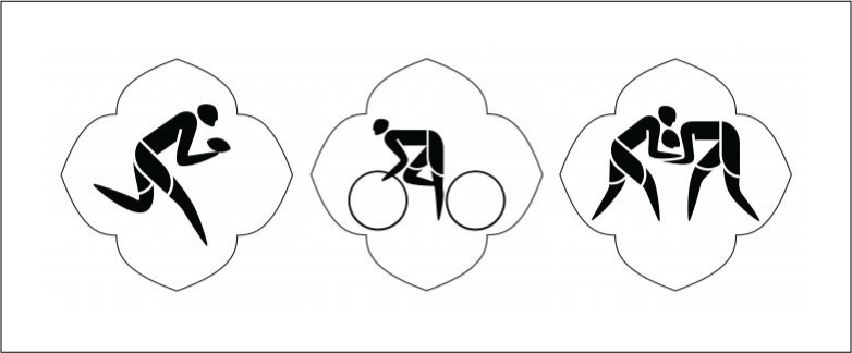 Rugby Sevens, Cycling and Wrestling pictograms